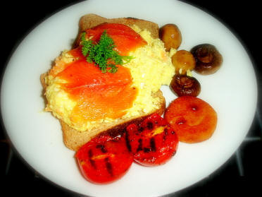 Barnsdale Breakfast, smoked trout & eggs on toast mmmm..